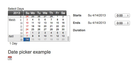 jQuery Plugin Date Picker & Date Range Selector
