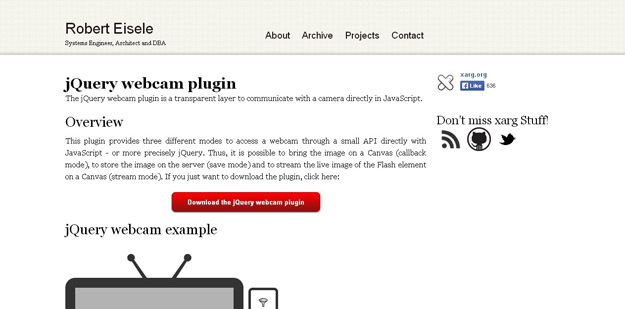 jQuery webcam plugin