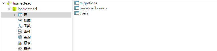 运行迁移生成users表
