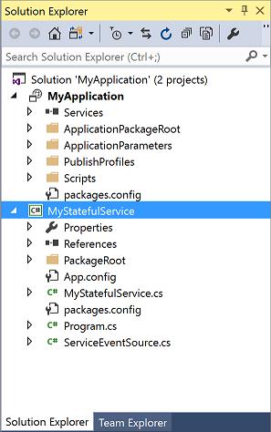 创建使用有状态服务的应用程序之后的解决方案资源管理器