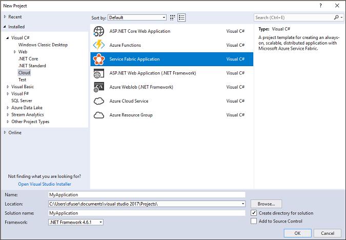 "Visual Studio 中的""新建项目""对话框"
